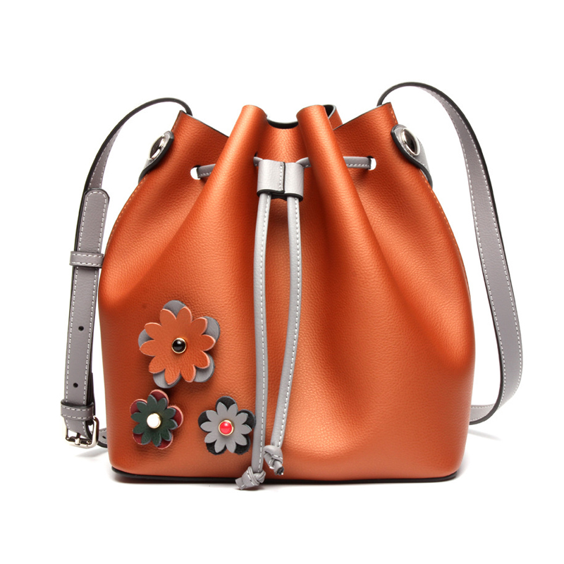 Small Crossbody Bags For Women Genuine Leather Bag Bucket Famous Brands Luxury Handbags Women Flower Messenger Shoulder Bags luxury shoulder bag women famous brands small messenger bags for women pink bags ladies high quality genuine leather handbags