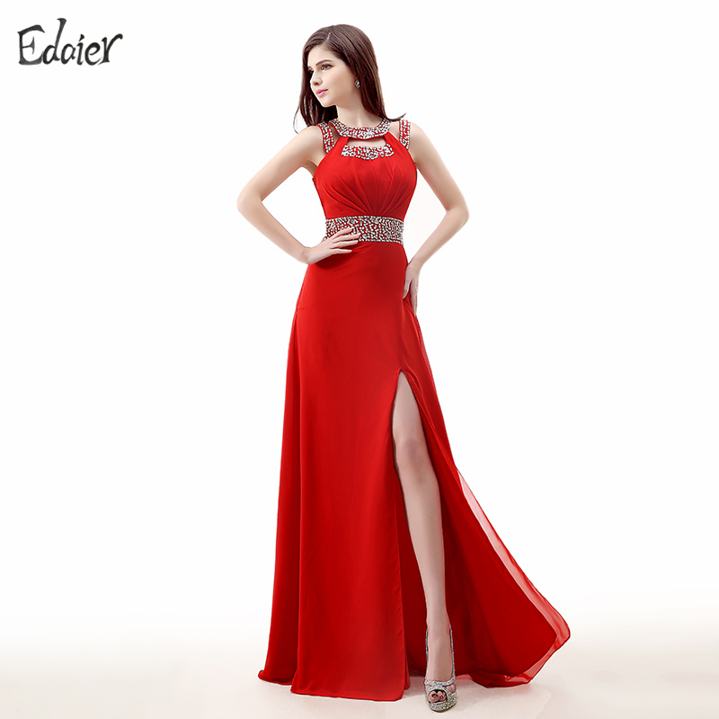 Backless Red Evening Dresses Long 2017 A Line Beaded Crystal High Slit Chiffon Women Formal Evening Gown Plus Size Prom Dresses