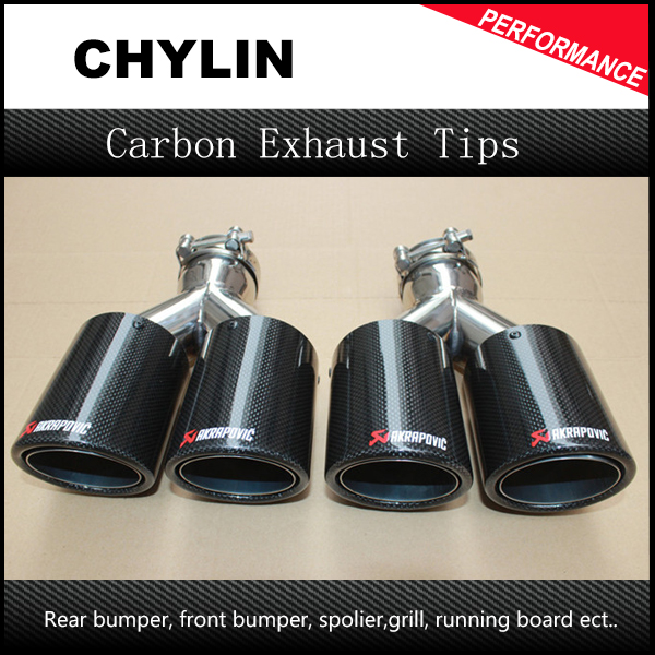 One Pair Car Styling Akrapovic Car Glossy Carbon Exhausts Dual Tips Universal AK Glossy Carbon Dual End Pipe Muffler Pipes one pair car styling akrapovic car glossy carbon exhausts dual tips universal ak glossy carbon dual end pipe muffler pipes