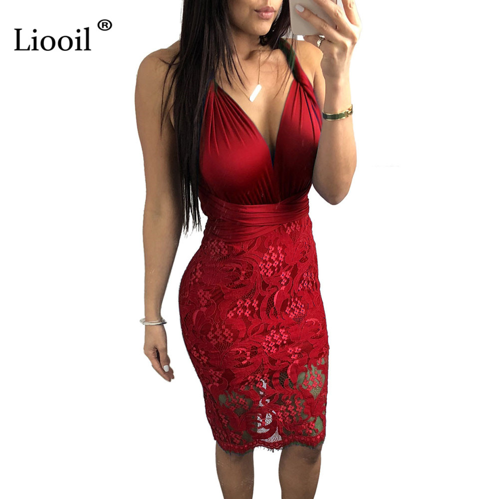 Detail Feedback Questions about Liooil Plus Size Lace Tank Dress Women Sexy  Club Sleeveless Backless V Neck Hollow Out Lace Up Bodycon Black Party  Woman ... 64995bb39c41
