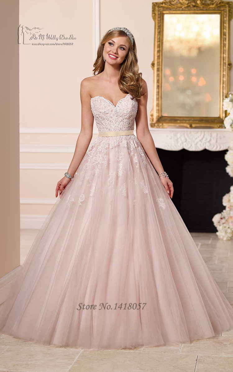 Princess Blush Pink Wedding Dresses Lace Sweetheart Floor Length ...