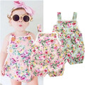 (LUCKY STORE) baby clothing foral romper plaid baby girls clothes summer clothing