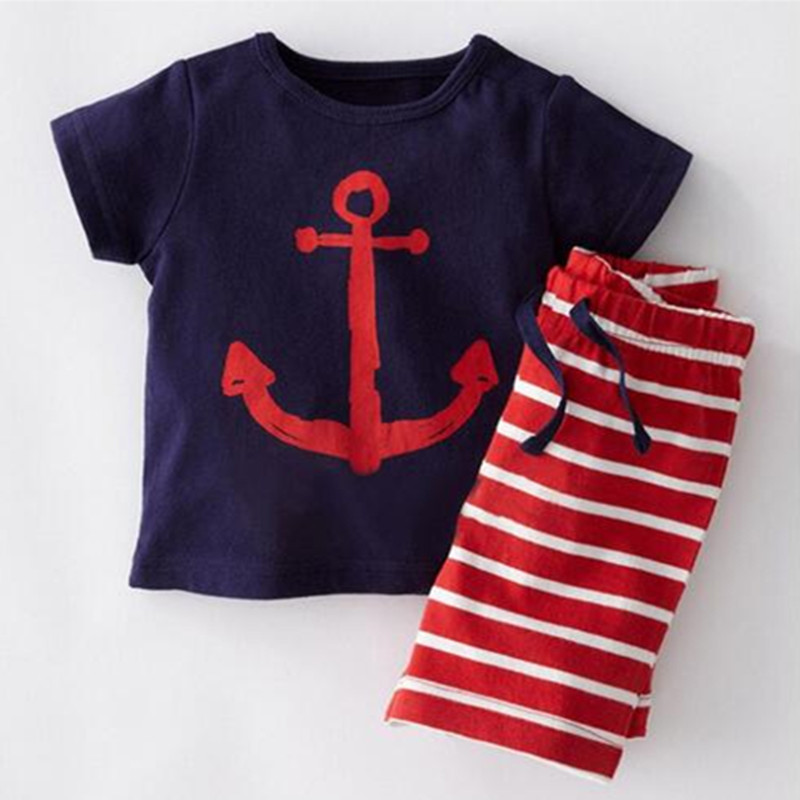 New Posh Summer Kids Clothes Navy Shirt+ Pants boys clothes knit cotton baby boy clothes striped pants