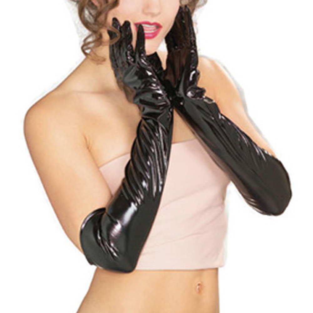 Womens colored leather gloves - Fashion New Evening Party Elbow Length Patent Leather Luxury Women Long Gloves Black Color Flexible Sexy