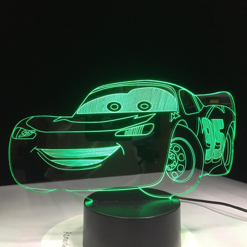 Super Car 3D Night Light Racing Car USB LED Table Lamp 3D Illusion Lamp Children Kids Bedroom Decor Sitting Room Lights Dropship