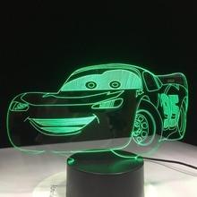 Super Car 3D Night Light RacingรถUSB LEDโคมไฟตั้งโต๊ะ3Dภาพลวงตาเด็กห้องนอนตกแต่งห้องนั่งเล่นไฟDropship