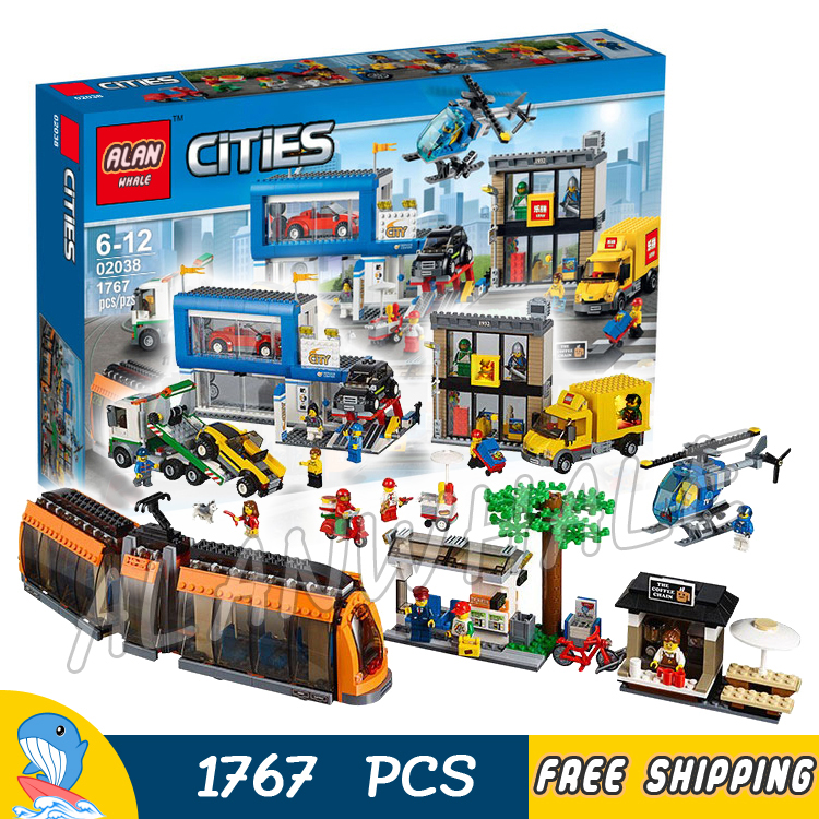 1767pcs City Town Square Train Helicopter Tow Truck Model Building Blocks 02038 Assemble Brick Children Toy Compatible With Lego