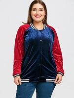 CharMma Velvet Jacket Women Raglan Sleeve Plus Size Baseball Ladies Coats Womens Outerwear Jackets 2017 New