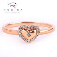 Robira Интимные любовник 0.08 ct certified Diamond сердце Форма кольцо 100% натуральный бриллиант обручальное кольцо 18 К розовое золото (au750) ювелирные изде