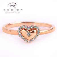 Robira Intimate Lover 0.08 CT Certified Diamond Heart Shape Ring 100% Natural Diamond Wedding Ring 18K Rose Gold (Au750) Jewelry