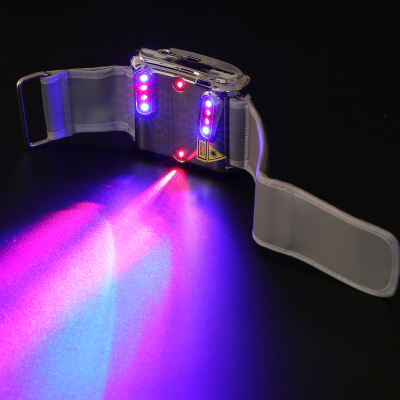 high blood pressure, tinnitus, pain relief, rhinitis treatment medical device red blue laser therapy wrist watch wrist soft laser therapy device with 18 lasers points for high blood pressure high blood sugar body pain relief