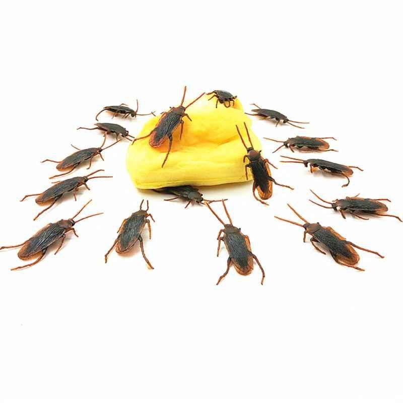 12 piezas realista cucarachas juguete de Halloween Gadget Gags bromas juguetes de los insectos de plástico