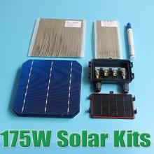 Hot Sale 175W DIY Solar Panel Kit 6×6 156 Mono Monocrystalline solar cell tab wire Bus wire Flux pen Junction Box WY
