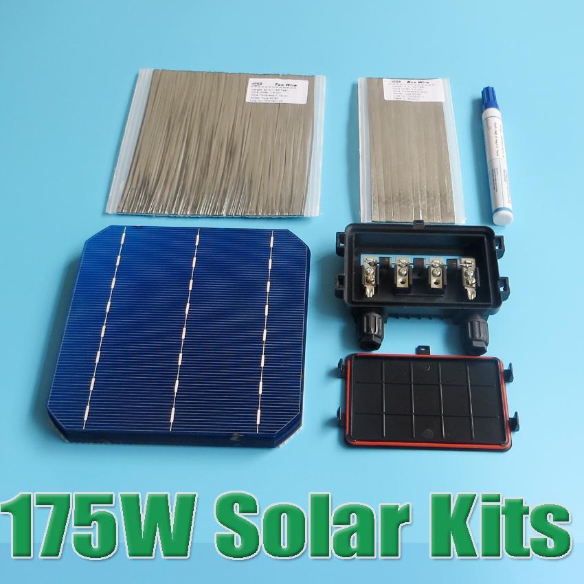 Prix pour Vente chaude 175 W DIY Panneau Solaire Kit 6x6 156 Mono Monocristallin cellule solaire tab fil Bus fil Flux stylo Boîte de Jonction WY