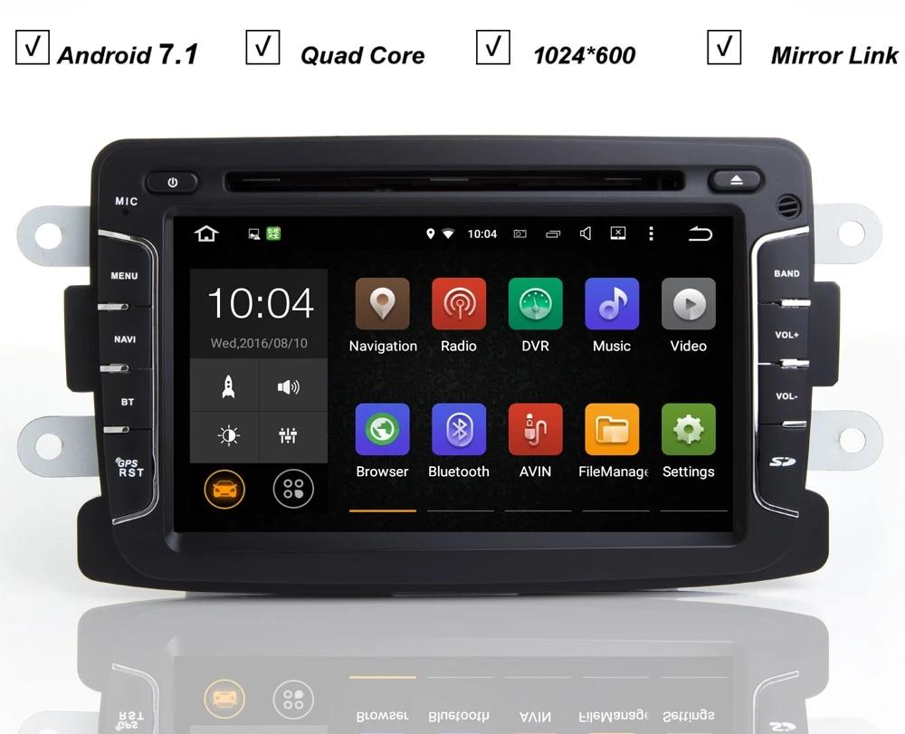 Android 7.1 Car Radio GPS Multimedia Player Navi for Renault Logan Sandero Dacia Duster 9 inch Car Autoradio Headunit Video WiFi Bluetooth Navigation Black Android7.1 1+16G GPS Renault