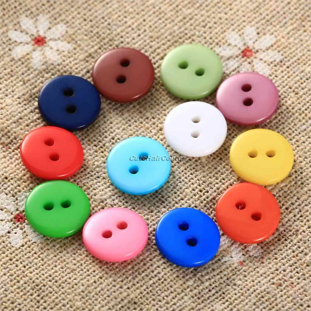 Hot Sale 100 Pcs/bag Permen Warna Resin Tombol Jahit 2 Lubang Tombol Scrapbooking Hiasan Dekoratif 9mm 10mm 15mm