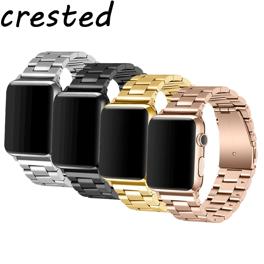 CRESTED Stainless Steel strap for apple watch band 42mm 38mm metal link Bracelet wrist belt band for iwatch apple watch 3/2/1 butterfly lock link bracelet watch band strap for apple watch 38mm 42mm stainless steel