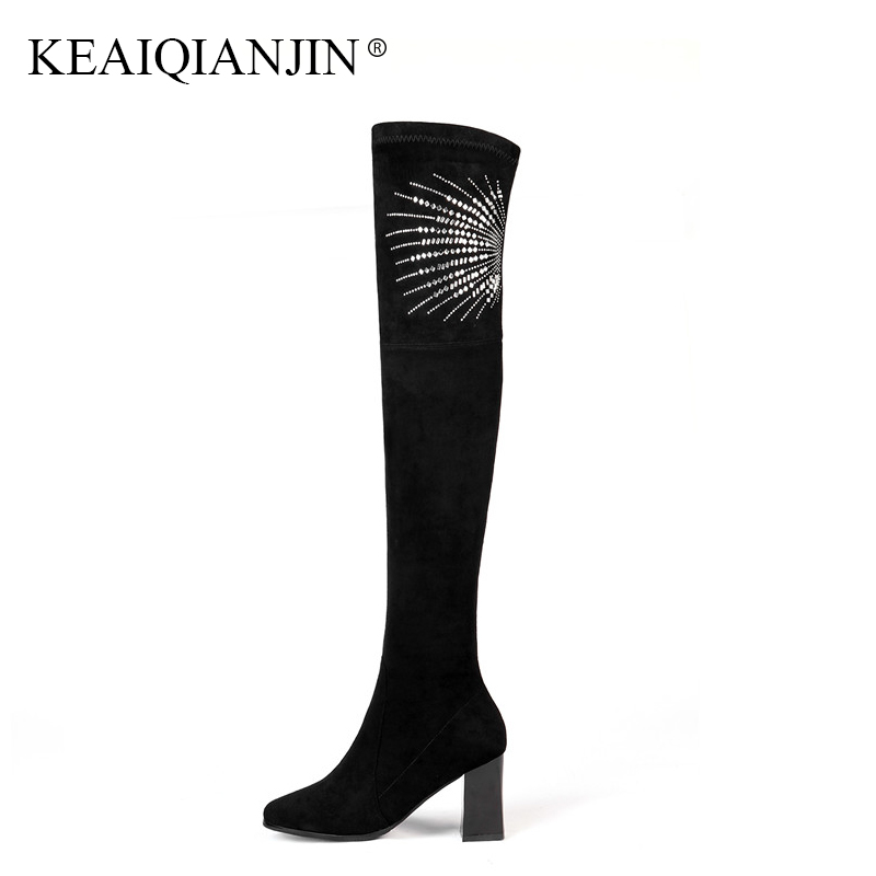 KEAIQIANJIN Genuine Leather Over The Knee Boots Woman Autumn Winter Pointed Toe Thigh High Boots Black Crystal High Heels Shoes цены онлайн