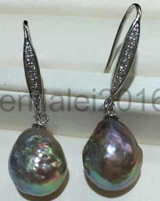 14-16mm purple baroque keshi South Sea Pearl earrings 925s14-16mm purple baroque keshi South Sea Pearl earrings 925s