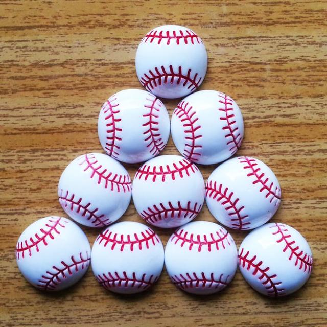 Bulk 50pcs Sports Baseball Flatback Resin Cabochons Frame for Girl Hair Bow Home Wedding Decoration Accessories