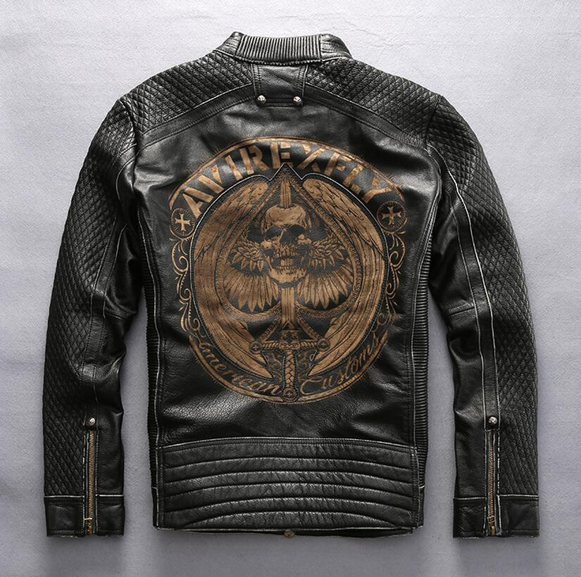 Factory AVIREXFLY Male Leather Jacket 2017 New arrival 100% Real Cowskin Embroidery skulls Motorcycle Jacket Winter Coats