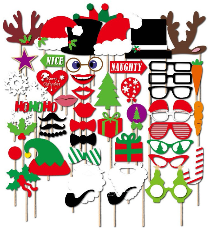 17 28 39 50 Pieces Photo Booth Props Merry Christmas Decorations ...