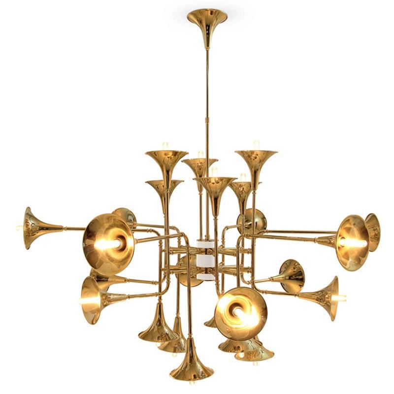 Modern Nordic Stainless Steel Gold Trumpet Pendant Lamps Vintage Retro Horn delightfull botti Pendant Light For Living Room m style люстра botti