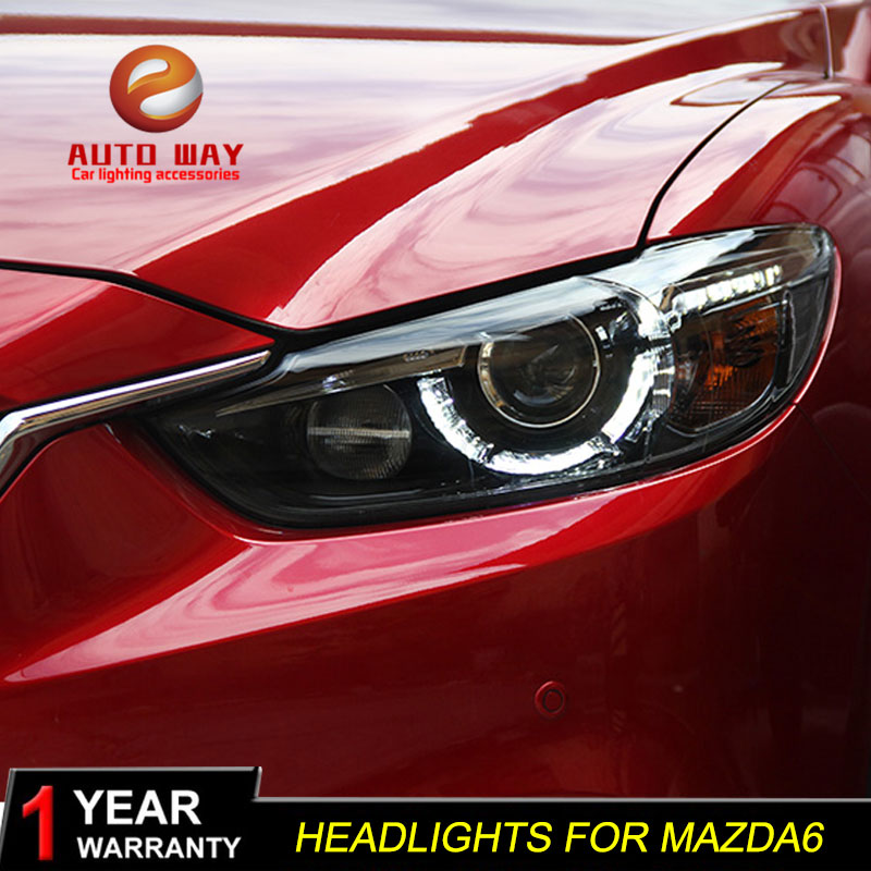 Car Styling for Mazda Atenza Mazda6 Headlights Mazda 6 M6 2013-2016 LED Headlight DRL Lens Double Beam HID Xenon Car Accessories