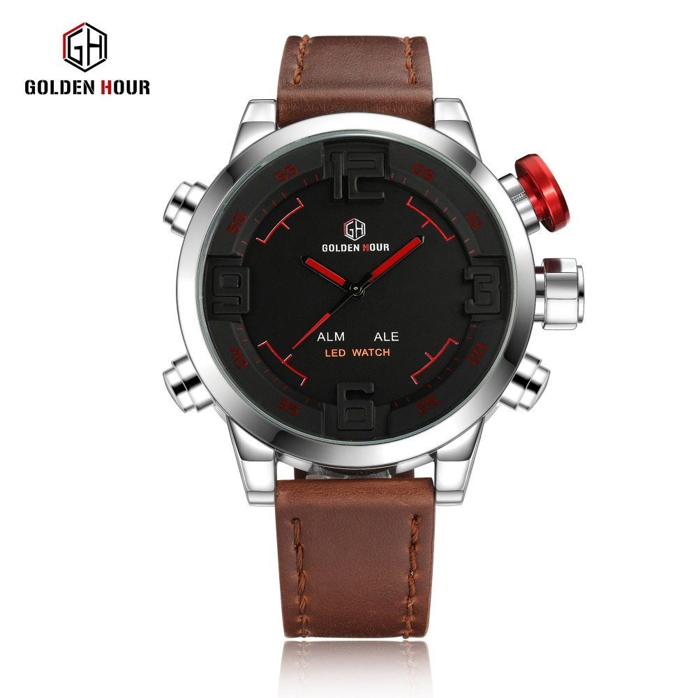 GOLDEN HOUR Pop Casual Dual Time Watch Men Calendar Alarm Multifunktional Top Brand Luxury LED Digital Waterproof Wrist Watches oulm military digital dual time watch men leather strap chronograph calendar alarm waterproof led electronic wrist watches 2018