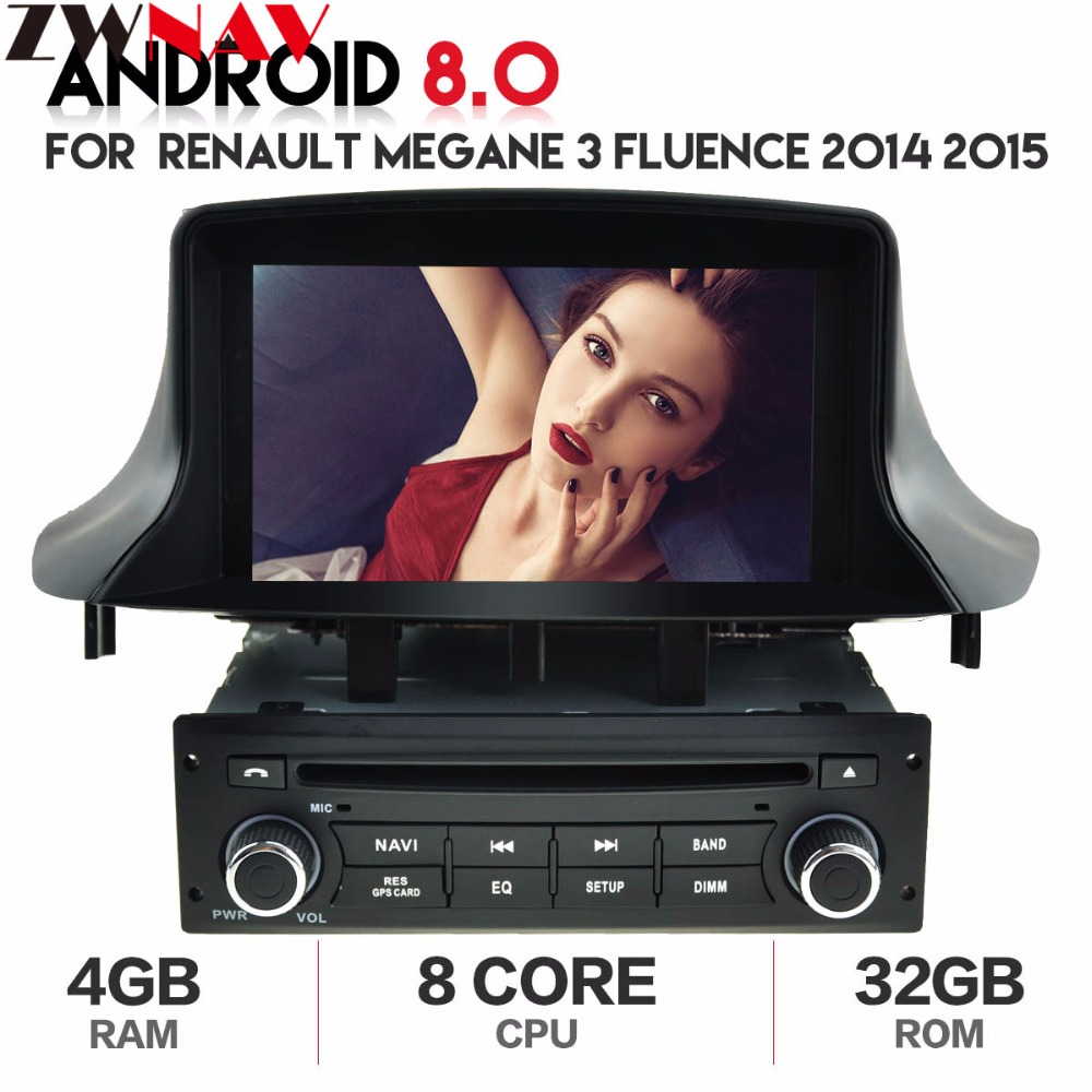 Android 8.0 Car Stereo DVD Player <font><b>GPS</b></font> Navigation for Renault <font><b>Megane</b></font> <font><b>3</b></font> Fluence 2014 2015 4GB RAM Video Multimedia Radio headunit image