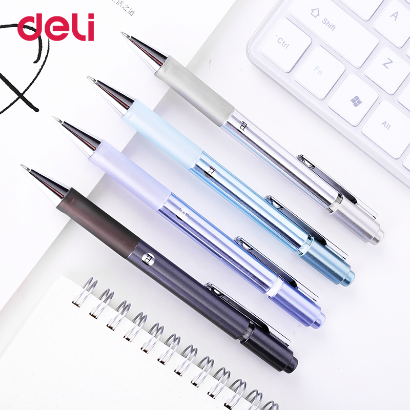 Deli Gel Pen 0.5mm Nib luxury smooth quick-drying ballpoint pen 4 Pcs press style writing supplies for school office stationary 2pcs lot pentel blp75 ultra smooth press neutral pen quick drying pen the test pen 0 5