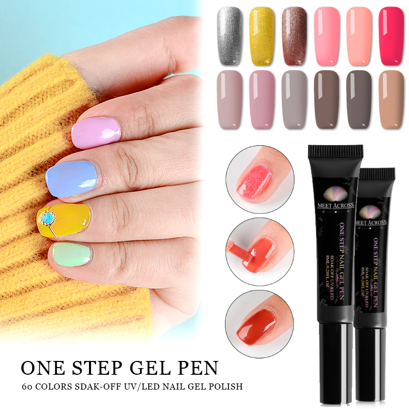 8d9b3198a85 MEET ACROSS One Step Gel Nail Polish 3 In 1 Gel Nail Varnish Pen Pure  Glitter UV LED Varnishes Nail Art Manicure Lacquer