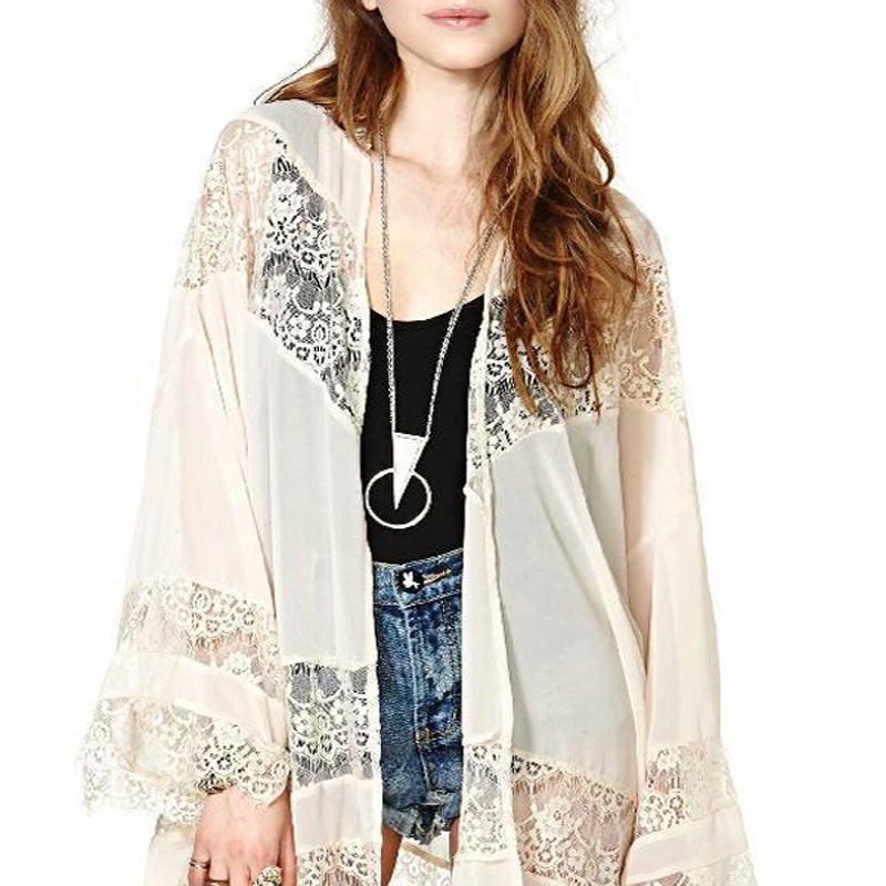 Able Hot Sale 2019 Beachwear Women Chiffon Blouses Shirts Lace Floral Crochet Summer Tops Shirts Kimono Cardigan Beach Blusas To Make One Feel At Ease And Energetic Women's Clothing