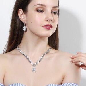 Image 2 - Pera CZ Luxury Bridesmaid Accessories Cubic Zirconia Stone Big Bridal Wedding Pera Cut Dropping Jewelry Sets For Women J048