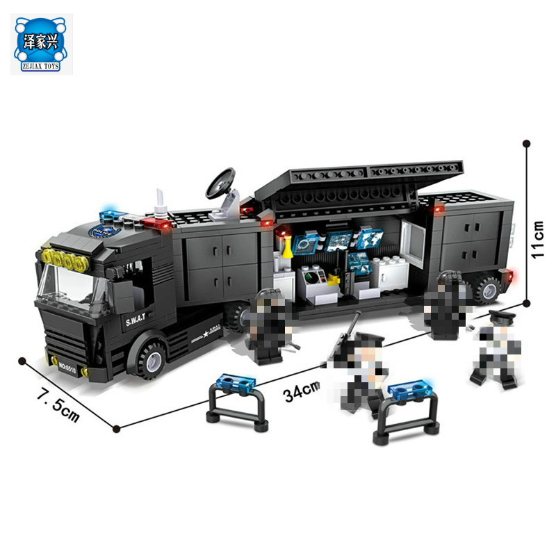Police Station SWAT Command Car Soldiers Military Series Model Building Blocks brikcks Compatible with Lepins City Boy Toy Gift police station swat hotel police doll military series 3d model building blocks construction eductional bricks building block set