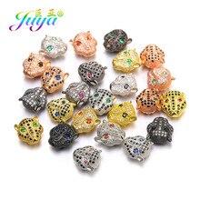 Juya – pierres naturelles pour hommes et femmes, fabrication de bijoux, perles de charme européen, fait à la main, léopard, Lion, tête de panthère, accessoires en métal
