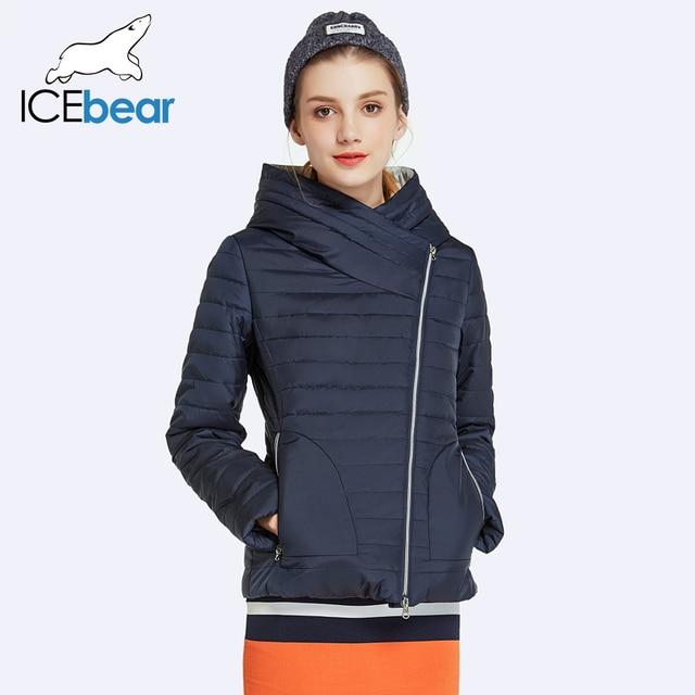 ICEbear 2017 Весна Куртка Женщин Пальто С Капюшоном Женская одежда Короткие Твердые Хлопок Мягкий Высокое Качество Парка 17G239D