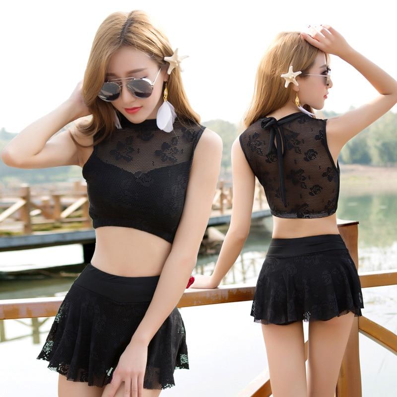 2017 new lady split skirt bikini set summer beach vacation party swimsuit Korean style sexy student swimsuit flat angle hot spri split front wales check skirt