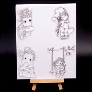 Silicone Stamps Scrapbooking Clear Transparent Girl Cartoon Decorative-Production Photo-Roller