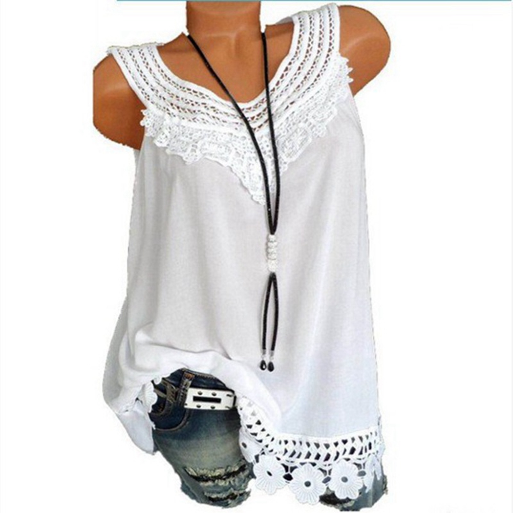 d8b15017751 Summer Women Plus Size Vintage 2018 Blouse Sleeveless Hollow Out Lace Tops  Shirt Patchwork Tunic Ladies