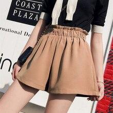 Широкие брюки шорты женские Новое поступление; Летнее Высокая Талия корейский стиль Повседневное свободные шифоновые шорты для женщин; Большие размеры Соблазнительные шорты Femme
