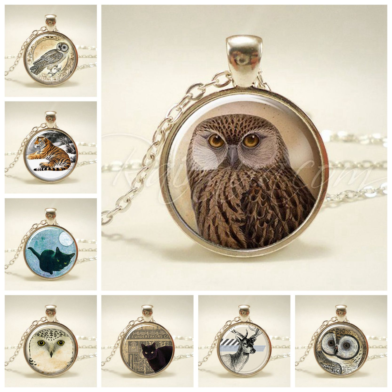 Silver Necklace Pendant Elk Owl Pattern Pendant Necklace Glass Cabochon Chain Art Fashion Handcrafted Animal Lover Best Gift