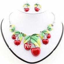 Ms17207 классический вишни колье высокое качество посеребренная красный сладкие фрукты ювелирные комплект ну вечеринку подарки бесплатная доставка
