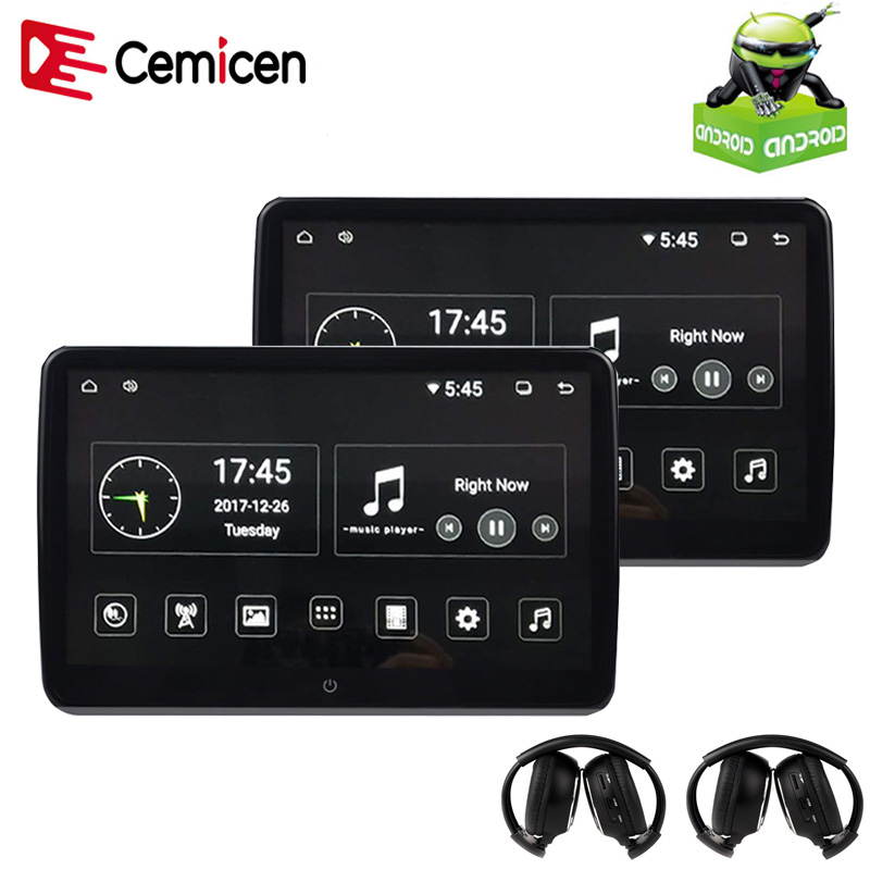 Cemicen 2 шт. 10.6 дюймов Android 6.0 подголовник автомобиля Мониторы 1920*1080 HD 1080 P видео IPS Сенсорный экран 3G WI-FI USB/SD/HDMI/IR/FM