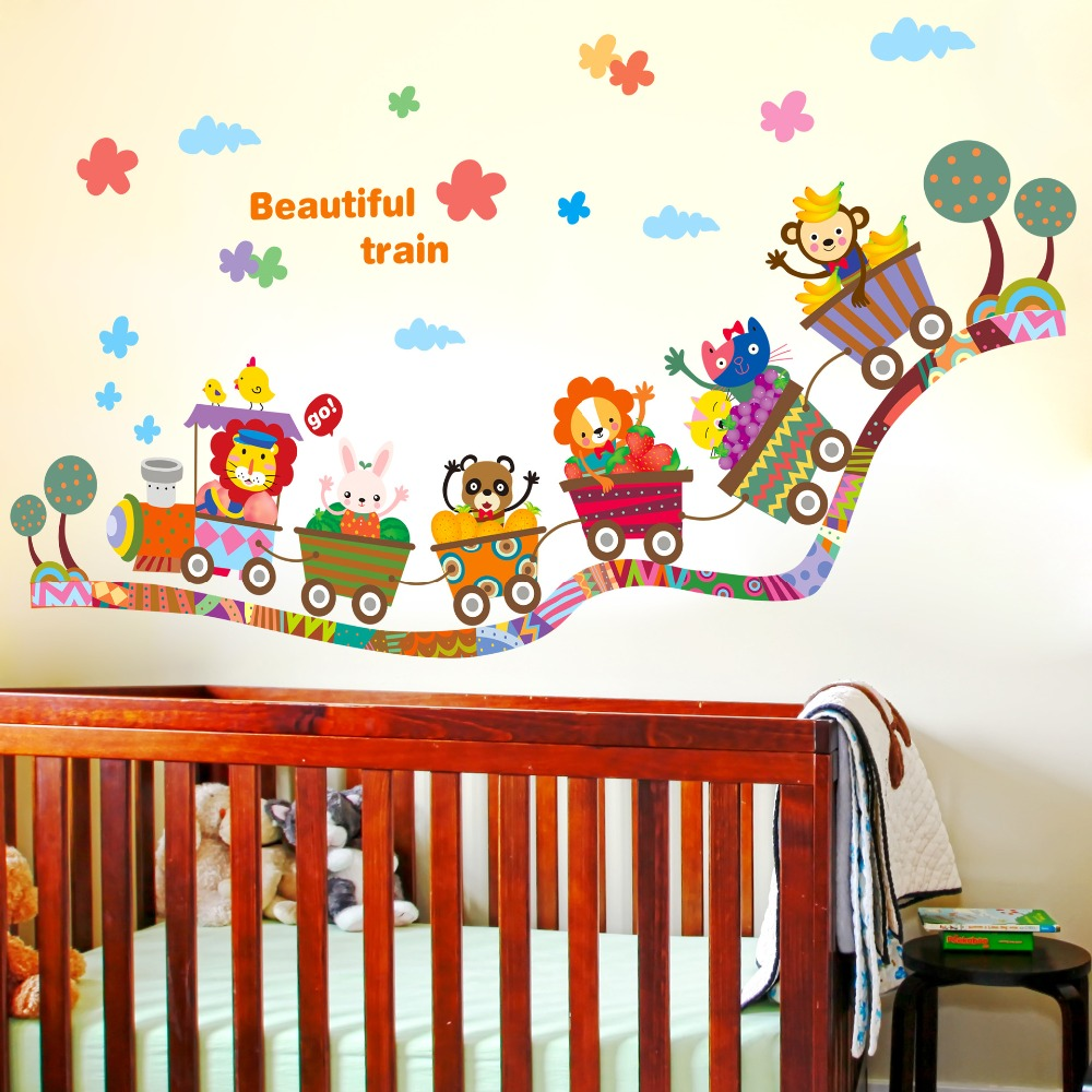 Kids room wall decor stickers - Aliexpress Com Buy Beautiful Train Wall Sticker Cartoon Animals Train Wall Poster For Kids Babies Room Diy Home Decor Wallpaper Nursery Wall Art From