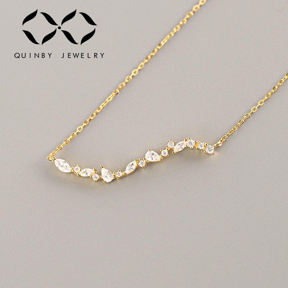 Мода 925 Серебряное ожерелье золотого цвета ожерелье для женщин ювелирные изделия AAA CZ ожерелье с фианитами свадебный подарок для влюбленных...