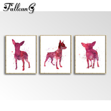 FULLCANG 3pcs diamond embroidery sale chihuahua dog painting triptych full square/round drill watercolor animals FC1021