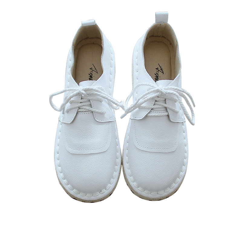 2019 Sen literary retro leather single shoes female soft bottom pregnant women shoes nurse shoes women