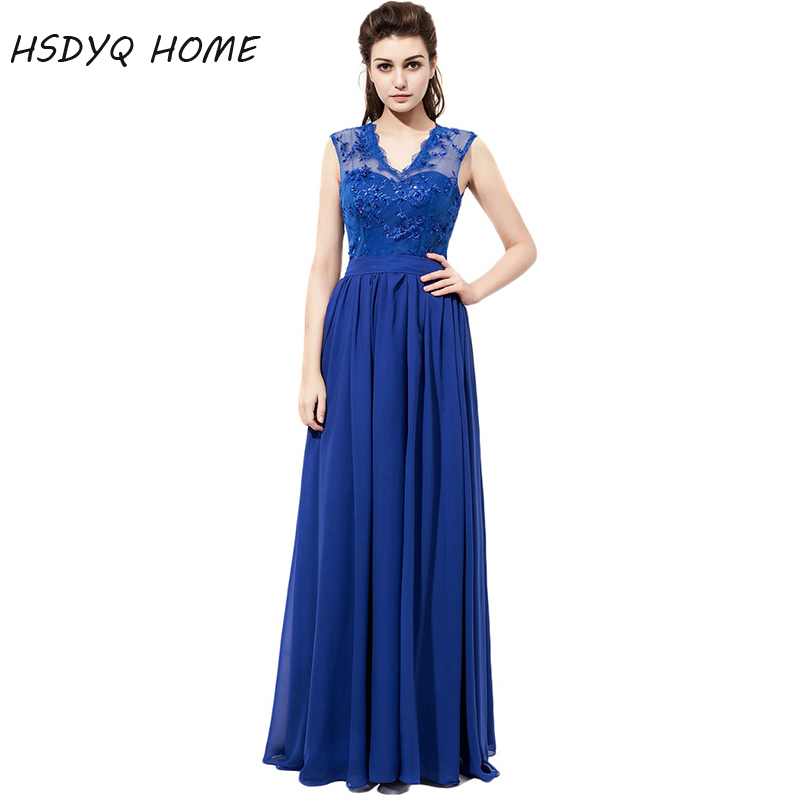 HSDYQ HOME Royal Blue Bridesmaid Dresses 2018 Simple Sexy V- Neck Party Gowns Formal A-Line Wedding Prom Dresses