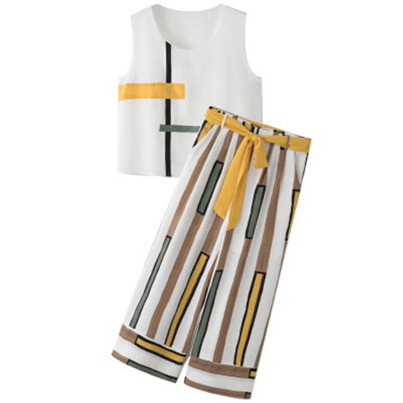 2019 Women Casual Striped Two Piece Set Women Summer Sleeveless Elegant Tank Top Office Lady Wide Leg Pants Chiffon Suit in Women 39 s Sets from Women 39 s Clothing